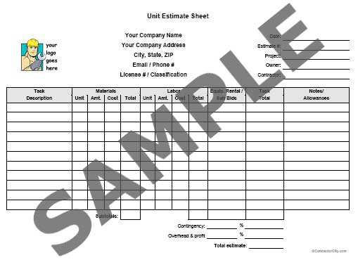 Atf Estimating Services - Sample Estimates
